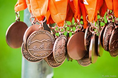 Finisher medals from the 2013 Victoria Youth Triathlon